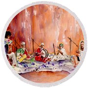 Robert Plant And Jimmy Page In Morocco Round Beach Towel by Miki De Goodaboom