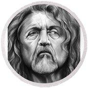 Robert Plant Round Beach Towel by Greg Joens