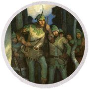 Robin Hood And His Merry Men Round Beach Towel by Newell Convers Wyeth