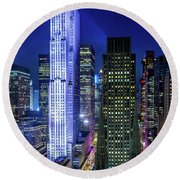 Round Beach Towel featuring the photograph Rockefeller At Night by M G Whittingham