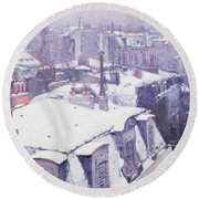 Roofs Under Snow Round Beach Towel by Gustave Caillebotte