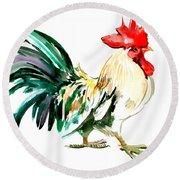 Rooster Round Beach Towel by Suren Nersisyan