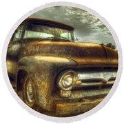 Rusty Truck Round Beach Towel by Mal Bray