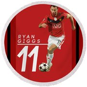 Ryan Giggs Round Beach Towel by Semih Yurdabak