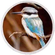 Sacred Kingfisher Round Beach Towel by Mike  Dawson