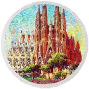 Sagrada Familia Round Beach Towel by Jane Small