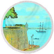 Sail On Round Beach Towel by Tito Santiago