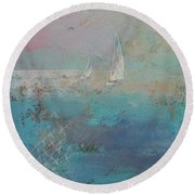 Sailboats Round Beach Towel by Michael Creese