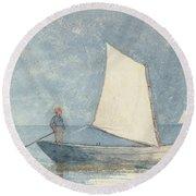 Sailing A Dory Round Beach Towel by Winslow Homer