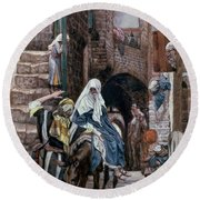 Saint Joseph Seeks Lodging In Bethlehem Round Beach Towel by Tissot