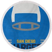 San Diego Chargers Vintage Art Round Beach Towel by Joe Hamilton