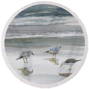 Sandpipers Round Beach Towel by Julianne Felton