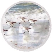 Sandpipers On Siesta Key Round Beach Towel by Shawn McLoughlin