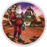 Santa Claus On Mars Round Beach Towel by English School