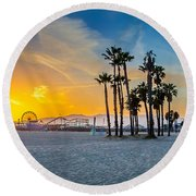 Santa Monica Sunset Round Beach Towel by Az Jackson