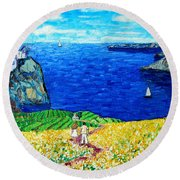 Santorini Honeymoon Round Beach Towel by Ana Maria Edulescu