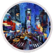 Saturday Night In Times Square Round Beach Towel by Elise Palmigiani