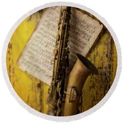 Saxophone Hanging On Old Wall Round Beach Towel by Garry Gay