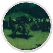 Scare In A Pack Train Round Beach Towel by Frederic Remington