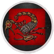Scorpion On Red And Black  Round Beach Towel by Serge Averbukh