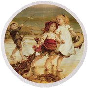 Sea Horses Round Beach Towel by Frederick Morgan