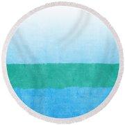 Sea Of Blues Round Beach Towel by Linda Woods