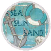 Sea Sun Sand Round Beach Towel by Debbie DeWitt