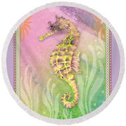 Seahorse Violet Round Beach Towel by Amy Kirkpatrick