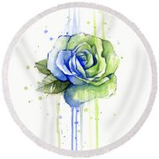 Seattle 12th Man Seahawks Watercolor Rose Round Beach Towel by Olga Shvartsur
