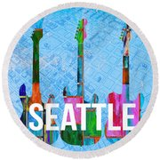 Seattle Music Scene Round Beach Towel by Edward Fielding