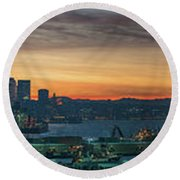 Seattle Skyline Sunrise Pano With A Lenticular Cloud On Rainier Round Beach Towel by Mike Reid