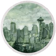 Seattle Skyline Watercolor Space Needle Round Beach Towel by Olga Shvartsur