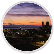 Seattle, Washington Skyline At Sunset Round Beach Towel by Panoramic Images