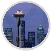 Seattle, Washington Skyline Round Beach Towel by Panoramic Images