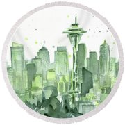 Seattle Watercolor Round Beach Towel by Olga Shvartsur