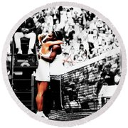 Serena Williams And Angelique Kerber 1a Round Beach Towel by Brian Reaves