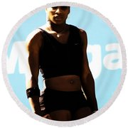 Serena Williams Match Point IIi Round Beach Towel by Brian Reaves