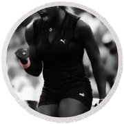 Serena Williams On Fire Round Beach Towel by Brian Reaves