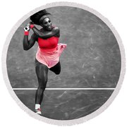 Serena Williams Strong Return Round Beach Towel by Brian Reaves