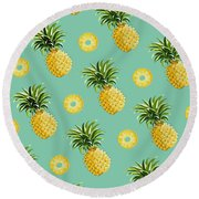 Set Of Pineapples Round Beach Towel by Vitor Costa