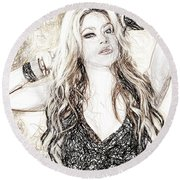Shakira - Pencil Art Round Beach Towel by Raina Shah