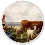 Shepherdess With Cows And Goats Round Beach Towel by Julien Dupre