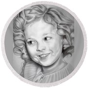 Shirley Temple Round Beach Towel by Fred Larucci