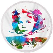 Shirley Temple Watercolor Paint Splatter Round Beach Towel by Dan Sproul