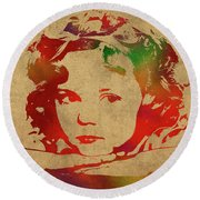 Shirley Temple Watercolor Portrait Round Beach Towel by Design Turnpike