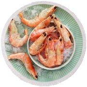 Shrimp On A Plate Round Beach Towel by Anfisa Kameneva