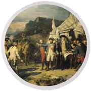 Siege Of Yorktown Round Beach Towel by Louis Charles Auguste  Couder