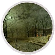 Silver Moonlight Round Beach Towel by John Atkinson Grimshaw