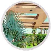 Sinatra Patio Palm Springs Round Beach Towel by William Dey