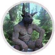 Sitting Bull Round Beach Towel by Joaquin Abella